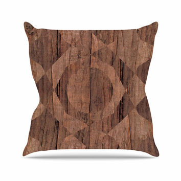 "Matt Eklund ""Indigenous"" Beige Brown Outdoor Throw Pillow"