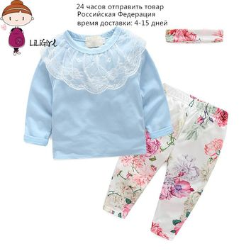 Baby Girl Spring Autumn Clothes Lace Tops + Flower Pants + Headband 3Pcs/Sets Kids Clothes 100% Cotton Tops Free Delivery 3M-4T