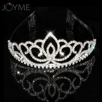 Luxury Shiny Crystal Hairwear Princess Crown Bride Tiaras And Crowns Bridal Jewelry Diadeem Flower  Wedding Hair jewellery