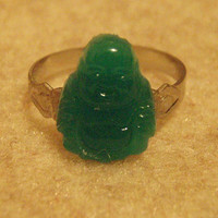 Adjustable Buddha Ring Glass Jade Cabachon for Good Luck of New Year