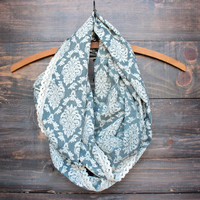 in time print scarf with lace