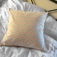 Light Pink and Gold Chevron Pillow Case