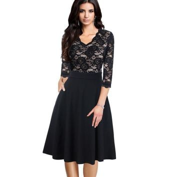 Elegant See Through Flower Lace Dobby Ruched Pockets Business Party Flare A-Line Midi Dress