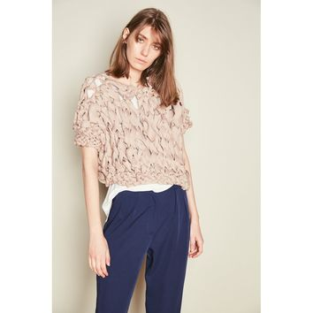 Nude Lycra Chunky Hand Knit Jumper