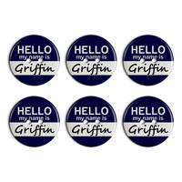 Griffin Hello My Name Is Plastic Resin Button Set of 6