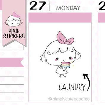 PIXIE - laundry stickers,fold clothes stickers,clothes stickers,planner stickers,chores stickers,cute stickers,kawaii stickers   A007