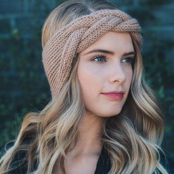 036b3ddb9b2 2018 New Women Crochet Knitted Solid Headbands Vintage Cross Kno