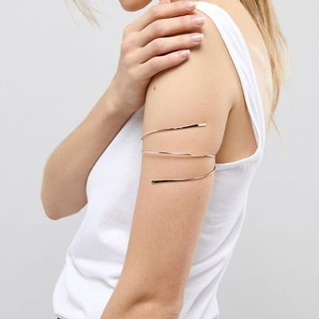 ASOS Fine Flat End Wire Wrap Arm Cuff at asos.com