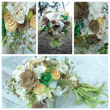 Wedding Bouquet, Cascade Spray Burlap, Ranunculus, Pearls, Cotton, Felt Balls, Spring, Rustic, Bridal, Shabby Chic, Green, Ivory, Cascading