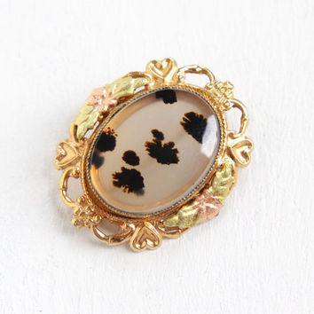 Vintage 12k Yellow Gold Filled Black & White Moss Agate Pin - Art Deco Style Oval Stone Brooch Filigree Heart Flower LSP Co Jewelry