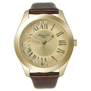 Kenneth Cole KC2678 Women's New York Gold Tone Dial Brown Leather Strap Gold Tone Steel Watch