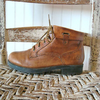 1980s Brown Leather Boots Combat Ankle Lace-Up sz 6