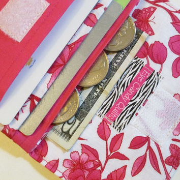 Pink Wallet, Hot Pink, White, Floral Wallet, Women's Wallet, Card Wallet, Change Purse, Cash Wallet, Small Wallet, Travel Wallet