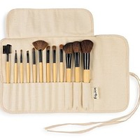 Professional Studio Quality 12 Piece Natural Cosmetic Makeup Brushes Brush Set Kit with Pouch Case Bag