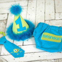 Monsters Inc Monsters U Boys Birthday Party Hat, Diaper Cover, Tie - First Birthday, Smash Cake Pics, Photo Prop - Wozowski Lime Aqua Teal