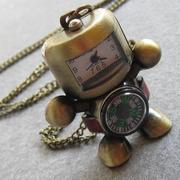 Robot Compass Pocket Watch Necklace Antique robot by GiftsofTansy