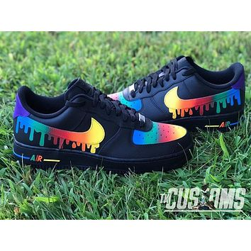Custom Nike Air Force 1 Drip rainbow black