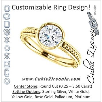 Cubic Zirconia Engagement Ring- The Cheyenne (Customizable Round Cut Bezel-set Solitaire with Beaded Filigree Three-sided Band)