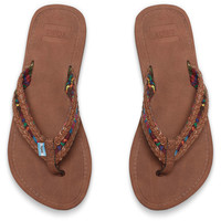 DARK BROWN WITH GREEN MIX TEXTILE WOMEN'S SOLANA FLIP-FLOPS