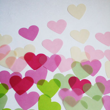 Jumbo Confetti Hearts, Beautiful translucent vellum paper confetti, perfect for wedding decor, tables, DIY, scrapbooking, die cut