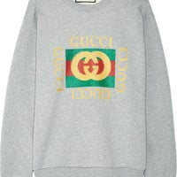 Gucci - Oversized appliquéd printed cotton-terry sweatshirt