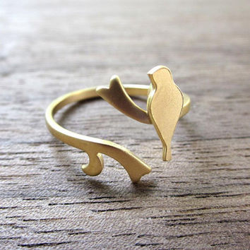 Bird on Branch Ring in Gold, Adjustable