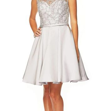 Illusion Neck Embellished Homecoming Dress Silver