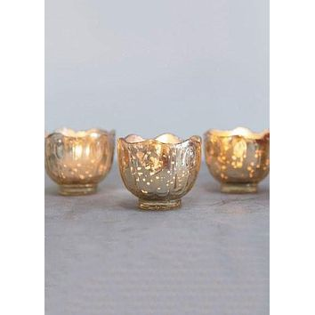 "Gold Glass Candle Holder - 2.5"" Tall x 2.75"" Wide"