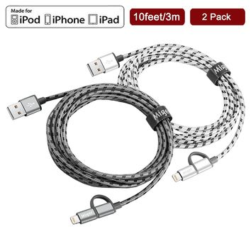 (2Pack) Miger 10FT 2 in 1 Lightning Cables and Micro USB Cable Nylon Braided Sync and Charging Cable Cord for iPhone, iPad /iPod and Samsung, Nexus, Nokia, Sony, HTC & more (Gray+Silver)