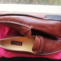 Amaizing Vintage FLORSHEIM Shoes Brown Leather Low Heels MEN Loafers Size 13/45 D Made in Italy