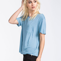 Volcom Lived In Stripe Womens Pocket Tee Blue  In Sizes