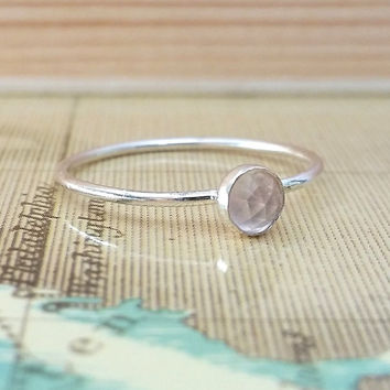 Rose Quartz Ring, Size 7, Sterling Silver Stacking Ring, Dainty Ring