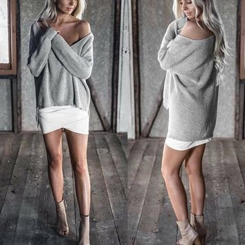 Long Sleeve Knit Sweater [31067078682]