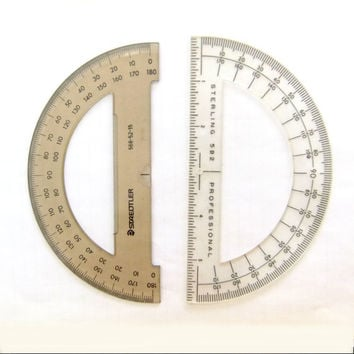 Vintage Half Circle Plastic Drafting Templates for Drawing and Art Set of Two by Staedtler and Sterling