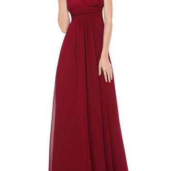Red Sleeveless Chiffon Maxi Dress