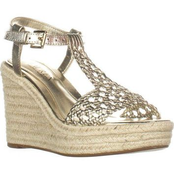 Lauren Ralph Lauren Hailey Wedge Espadrilles Sandals, Platino, 5.5 US / 36.5 EU