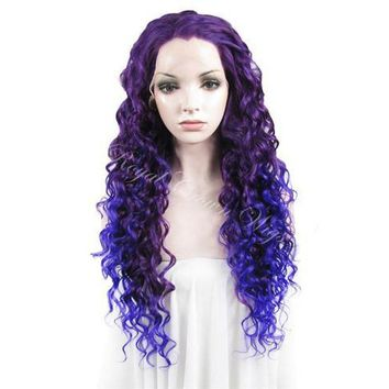 """26"""" Curly Royal Purple Root to Blue/Purple Ombre Lace Front Synthetic Wig"""