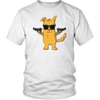 Men's Dog with Gun T-Shirt - Funny Dog Lovers Gift