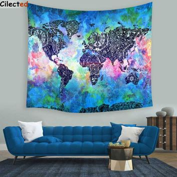 Wall Tapestries 148x148cm Polyester World Map Tapestry  Art