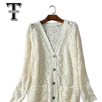 T-Inside 2016 Lace Jacket women Spring Summer New V Neck Single Full Lace coat Outwear Leisure Casual Jacket High Quality