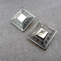 Silver Engraved Earrings 1950s Victorian Revival Vintage Jewelry