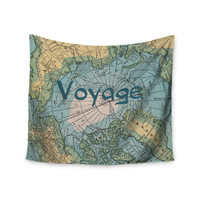 "Catherine Holcombe ""Voyage"" Teal Map Wall Tapestry"