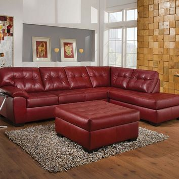 Acme 53615 2 pc shi cardinal leather aire sectional sofa with chaise