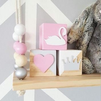 Original pine wooden Swan crown heart   Block (6*6*6CM) Decoration for baby room decal thing baby room cute decorative