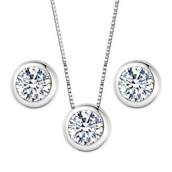 SHIP BY USPS: EleQueen 925 Sterling Silver 0.7 Carat Solitaire Round CZ Bridal Necklace Earrings Jewelry Set
