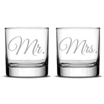 Premium Wedding Whiskey Glasses, Mr. and Mrs., Hand Etched 10oz Rocks Glasses, Made in USA, Highball Gifts, Set of 2, Sand Carved