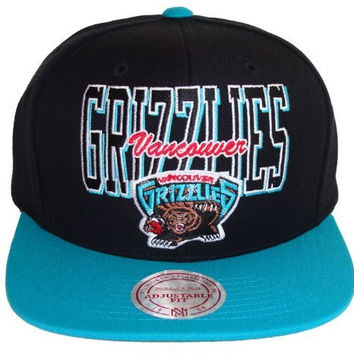 NBA Mitchell & Ness Vancouver Grizzlies Reverse Stack Snapback Hat - Black/Teal