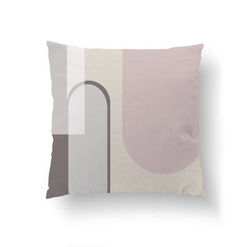 Textured Watercolor, Pink Brown White, Home Decor, Cushion Cover, Abstract Art, Modern Shapes, Decorative Pillow, Simple Art, Throw Pillow