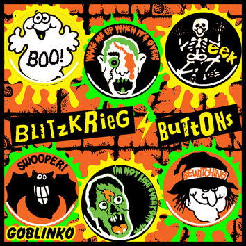 "SMALL 1.25"" BLITZKRIEG BUTTONS - BUTTON OF THE DAY - S116"