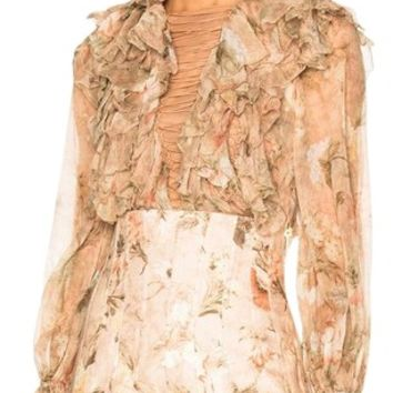 ZIMMERMANN Bowerbird Teased Blush Apricot Floral Blouse Size 4 (S)
